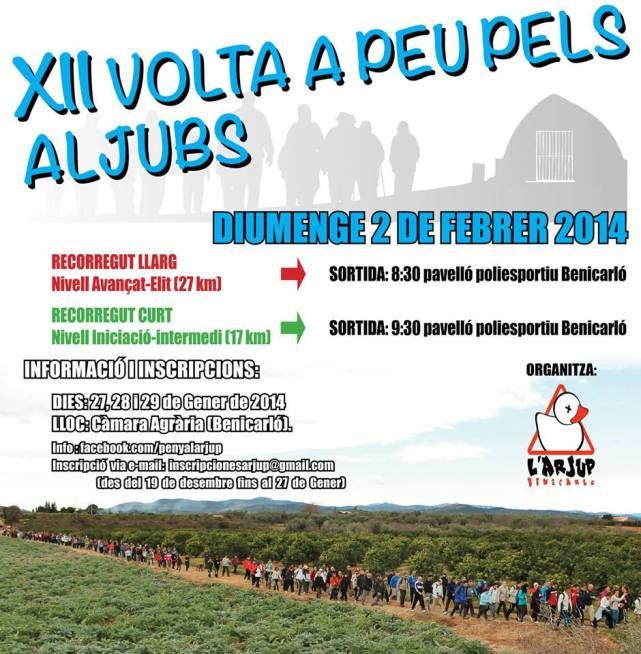 Rètol de la XII Volta a peu pels aljubs de Benicarló 2014