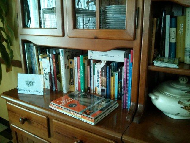 Selección de libros en la biblioteca del Hotel Sol  Benicarló