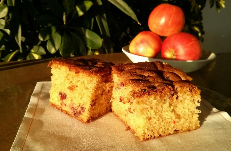 Bizcocho de manzana y arandanos sin lactosa
