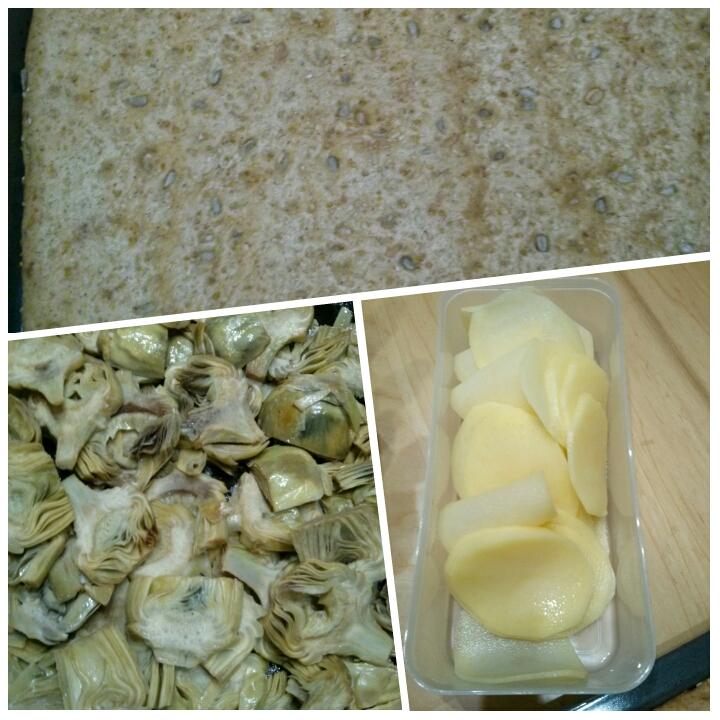 Ingredientes coca de alcachofa y patata